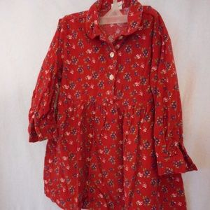Red/Blue Floral corduroy dress with buttons Sz 4/5